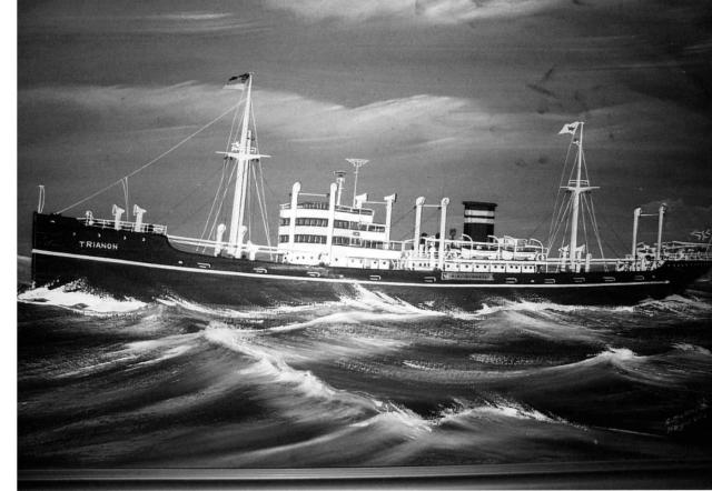"""M/S """"Trianon"""", tilhørende Wilh. Wilhelmsen rederi, der jeg var dekksgutt høsten 1956, vår 1957. Etter et maleri."""